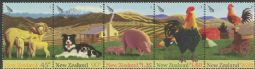 New Zealand Stamps SG2757a Chinese New Year (Year of the Rooster): Farmyard Animals strip of 5